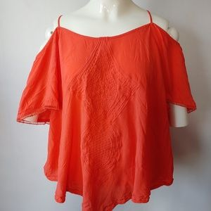 Coral Colored Cold Shoulder Top by A.N.A Sz Lg